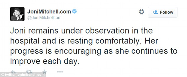 Positive: A later tweet said that Mitchell's progress was 'encouraging' and she was improving every day