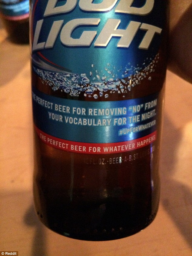 Product: Bud Light has apologized for this message which was printed on its beer bottles