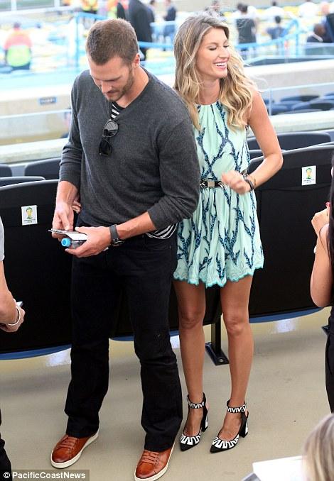Stars: Tom Brady and Gisele Bundchen were spotted at the Maracana
