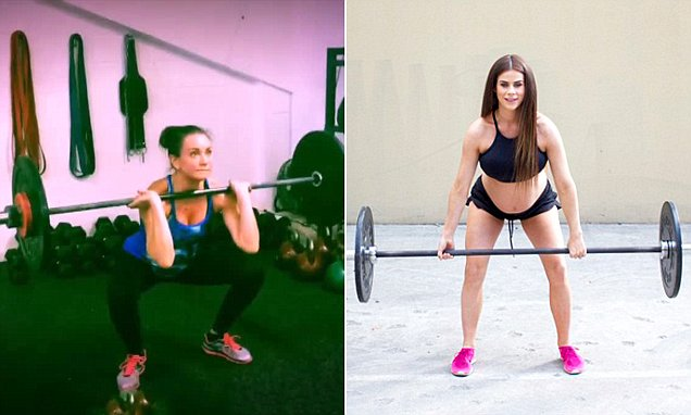 Michelle Bridges weightlifting while pregnant supported by Sophie Guidolin