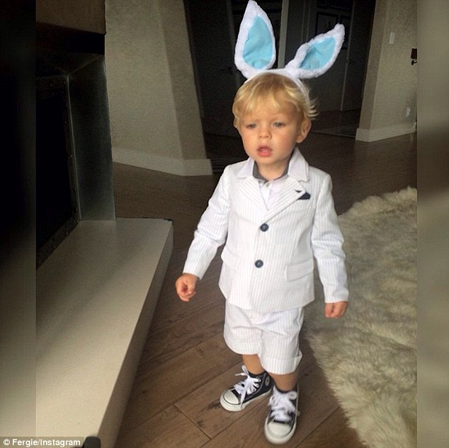 Cute: Fergie shared this snap of her adorable one-year-old son Axl with Instagram followers earlier this week