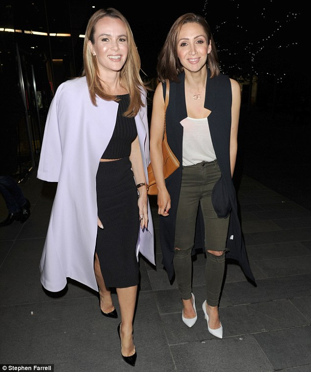 Gal pal: Amanda Holden looked absolutely sensational in a tight black two-piece as she joined forces with close pal Lucy-Jo Hudson and her husband Alan Halsall on a night out in Manchester on Friday