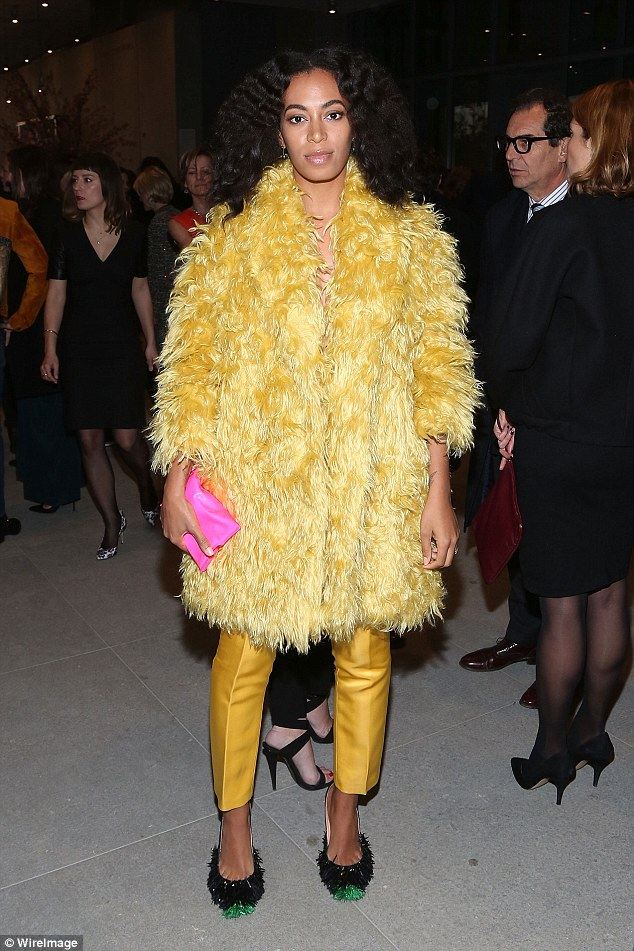 Bold move: Solange Knowles caught the eye in an attention grabbing ensemble as she attended the opening night of The Whitney Museum, hosted by Max Mara, in New York City on Friday