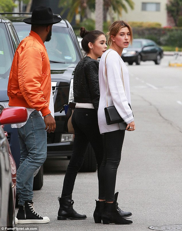 Lunch date: Hailey Baldwin hit Sugarfish in Beverly Hills on Friday for a meal with  friends