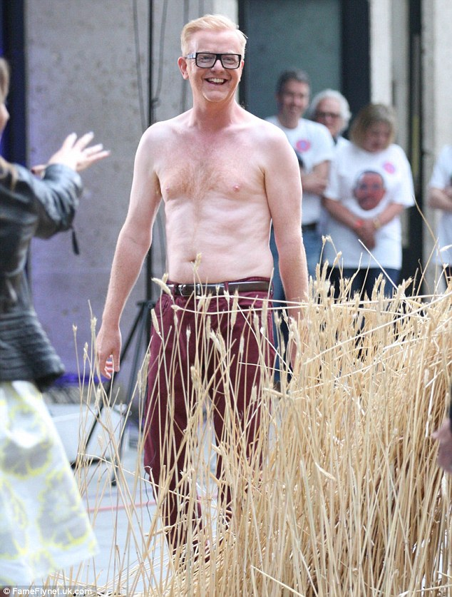 Stripped down! Chris Evans opted to go completely shirtless during the latest filming of The One Show at London's BBC studios on Friday