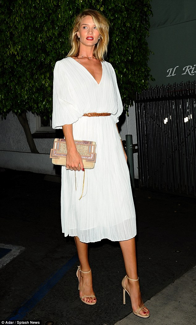 Glammed-up: The British model recently let her hair down, celebrating her 28th birthday at Il Ristorante in Los Angeles
