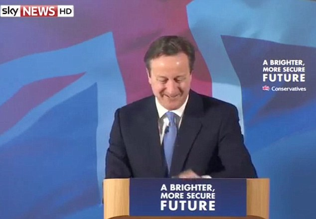 David Cameron looks a bit sheepish after accidentally urging the audience to support West Ham - though he didn't correct himself until asked about the gaffe afterwards