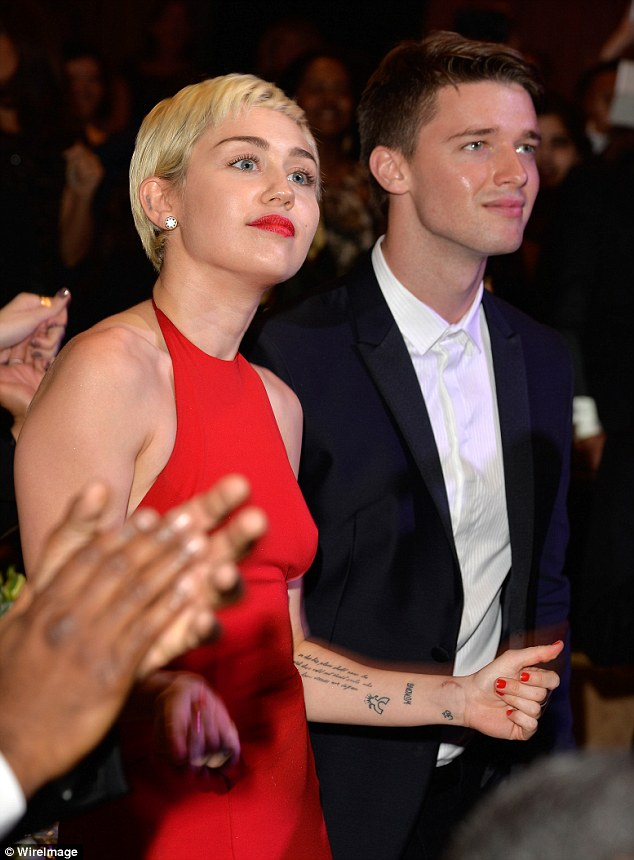 End of a romance: Patrick had been dating Miley Cyrus, 22, for five months (pictured in February)