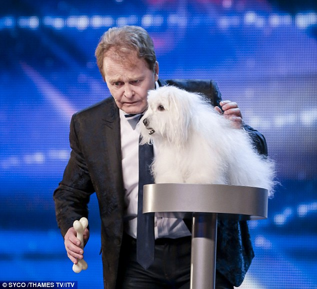Wendy the Coton de Tulear appeared to talk and meow, but was actually wearing a false mouth which was operated remotely by owner Marc Metral