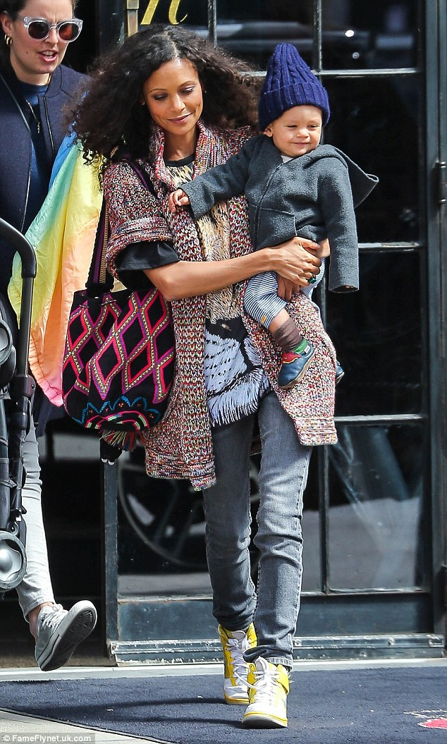 Me and my boy: Thandie Newton enjoyed a day in New York with her son Booker on Friday