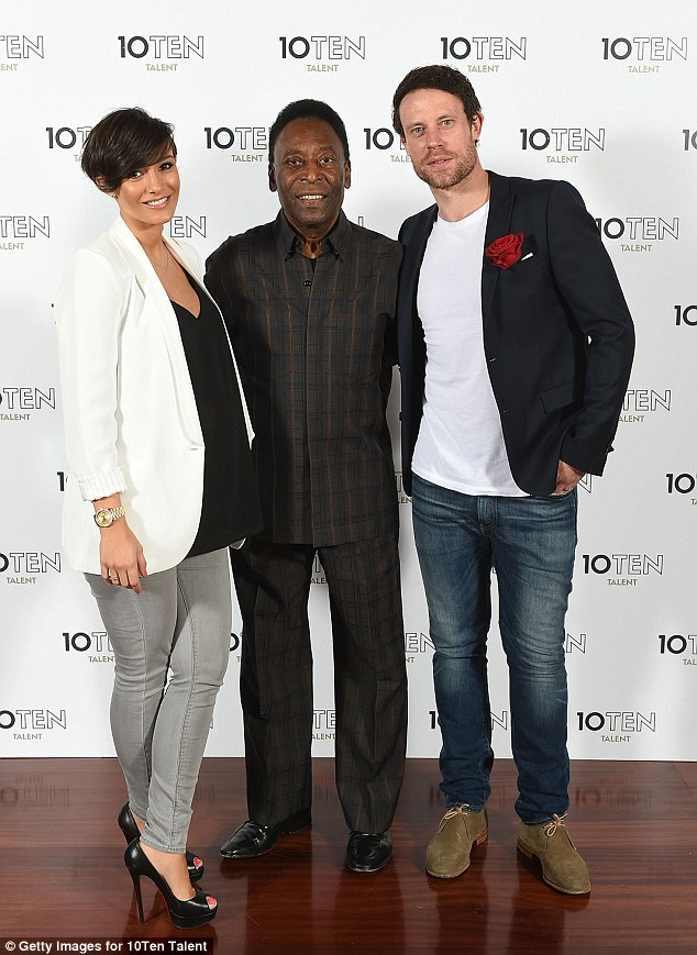 Football legend: Frankie went with her husband Wayne to the launch of charity 10Ten Talent, founded by Pele
