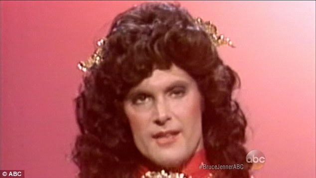 On stage: The first glimpse of what Bruce would look like as a a woman cam e in 1981 during a Bob Hope spoof