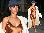 UK CLIENTS MUST CREDIT: AKM-GSI ONLY EXCLUSIVE: Santa Monica, CA - Rihanna steps out after dinner at Giorgio Baldi, her favorite Italian restaurant in Santa Monica. The pop star diva flowed effortlessly through the street in a white floor length fur coat over a copper colored dress and a pair of silver strappy heels. AKM-GSI         November 11, 2015 **MANDATORY CREDIT MUST READ: Maciel/NGRE/  Pictured: Rihanna Ref: SPL1175434  121115   EXCLUSIVE Picture by: AKM-GSI / Splash News