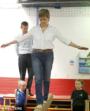 Nicola Sturgeon, the leader of the Scottish National Party, visits Jump Gymnastics community club in Cumbernauld