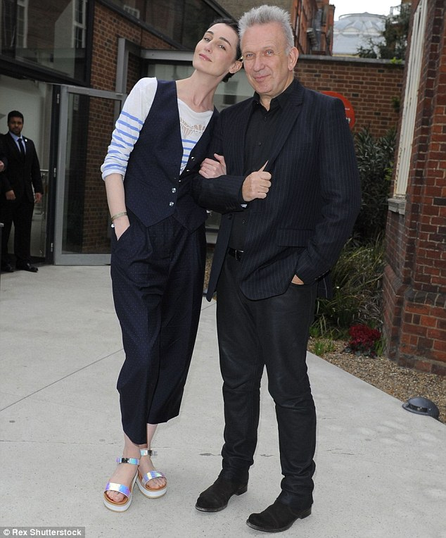 Just good friends: Erin O'Connor took to the stage to interview fashion pal Jean Paul Gaultier at the Royal Geographical Society in London during the first day of the Vogue Festival