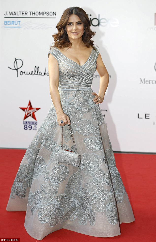 Exquisite: Salma Hayek lead the red carpet at the Beirut world premiere ofKahlil Gibran's The Prophet on Monday night, which she produced and lent her voice to
