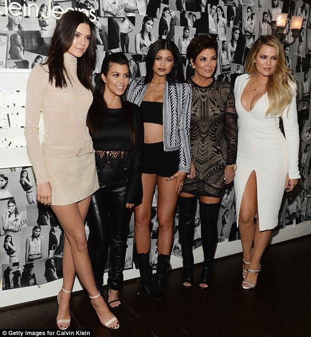 The other side of Bruce's family: Biological daughters Kendall and Kylie and stepdaughters Kourtney and Khloe were pictured on Thursday with mother Kris Jenner