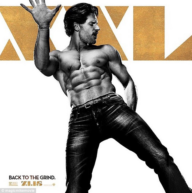 What a hunk: JoeManganiello shows off his rippling abs in the latest character poster for Magic Mike XXL, as he poses in nothing but a pair of jeans