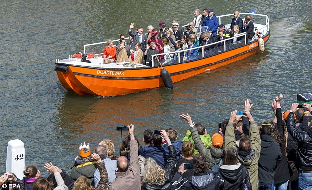Turn out: Willem-Alexander's birthday is a public holiday which meant everyone had the day off