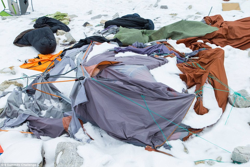 Deadly: An image from Sunday shows a tent completely flattened by the avalanche, which left 18 people dead on Saturday