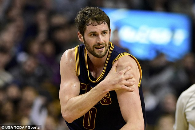 Cleveland Cavaliers forward Kevin Love injured his left shoulder during the first half in game four of the first round of the NBA Playoffs against the Boston Celtics on Sunday