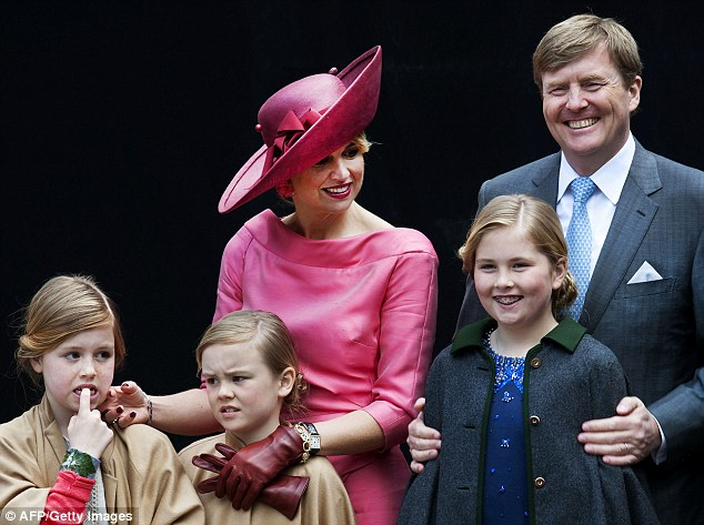Happy family: The Dutch royals celebrated King Willem-Alexander's birthday in Dordrecht