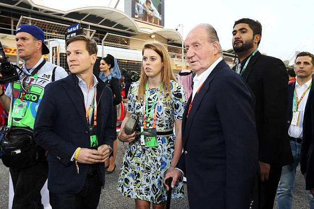 Jetset: Days before, she had been spotted in Bahrain with ex-King Juan Carlos of Spain and Dave Clark
