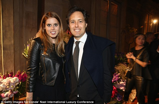 Hobnobbing: Beatrice was at a fashion conference in Florence last week and is seen here with David Lauren