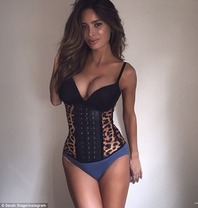 Tummy tamer: Underwear model and animal rights activist Sarah Stage is using a $79.99 Perfit Shape waist trainer (pictured) to shrink her already unbelievably tiny stomach less than two weeks after giving birth