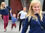 Picture Shows: Reese Witherspoon, Jim Toth, Tennessee Toth, Deacon Phillippe, Ava Phillippe  November 15, 2015    Actress Reese Witherspoon and her husband Jim Toth take their son Tennesse and her kids Ava and Deacon Phillippe to church in Santa Monica, California. Reese and Jim were wearing matching blue sweaters.     Exclusive All Rounder  UK RIGHTS ONLY  Pictures by : FameFlynet UK © 2015  Tel : +44 (0)20 3551 5049  Email : info@fameflynet.uk.com