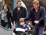 November 12, 2015: Celebrity Chef Curtis Stone takes his sons Hudson and Emerson out for a stroll in Soho, New York City.  \nMandatory Credit: Curtis Means/ACE/INFphoto.com Ref.: infusny-220
