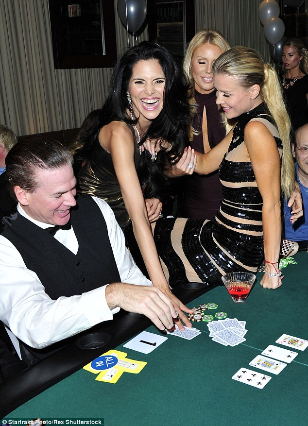 All in: The 5ft 7in beauty was joined by Real Housewives of Orange County stars Joyce Giraud and Gretchen Rossi for the glamorous gambling event