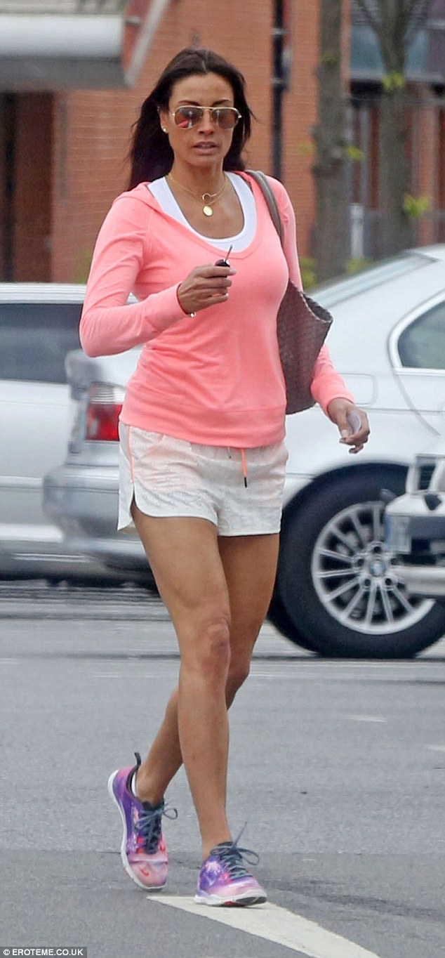 Leggy: Melanie Sykes toned body was on display as she left the gym on Monday morning dressed in her workout gear