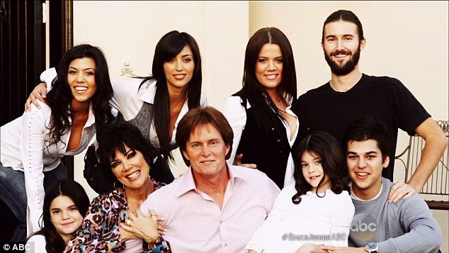 The way things used to be:  Bruce with wife Kris in their early days of fame with ((clockwise from top left) Kourtney, Kim, Khloe, Brandon, Rob, Kylie and Kendall
