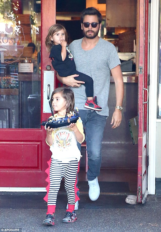 Dining out: Kourtney, 36, and Scott, 31, took Mason, five, and Penelope, two, to dinner at Rosti Tuscan Kitchen in Calabasas, Los Angeles