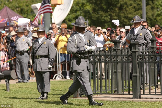 South Carolina State Police honor guard after lowering the Confederate flag for the last time