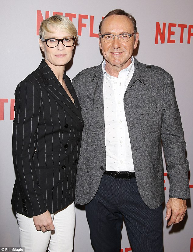 Busy night: The Usual Suspects star posed with his House Of Cards co-star Robin Wright on the red carpet