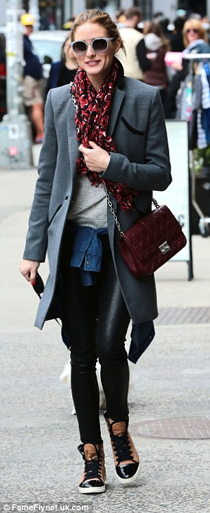 Low key look: The former The City star dressed up her outfit with an eye-catching scarf and a leather bag
