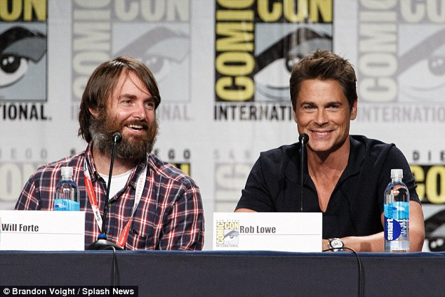 Flashback: Lowe and co-star Will Forte appear at Comic-Con to promote their new animated comedy Moonbeam City, which is inspired by the 1980s