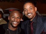 "HOLLYWOOD, CA - NOVEMBER 10:  Professional Boxer Floyd Mayweather, Jr. (L) and actor Will Smith attend the after party for the Centerpiece Gala Premiere of Columbia Pictures' ""Concussion"" during AFI FEST 2015 presented by Audi at TCL Chinese Theatre on November 10, 2015 in Hollywood, California.  (Photo by Kevin Winter/Getty Images For AFI)"