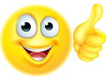 F0C22A A cartoon emoji emoticon icon character looking very happy with his thumbs up, he likes it