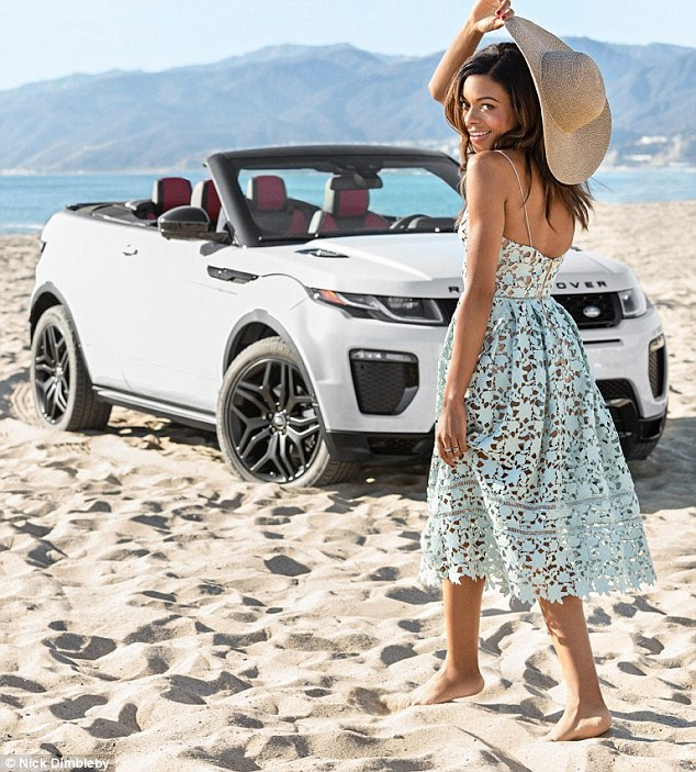 California girl: The Brit looked right at home on the Santa Monica beach dressed in a pale blue lace summer dress