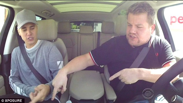 Smah hit: Justin Bieber, 21, joined Late Late Show host James Corden, 37, for another installment of carpool karaoke after their first sketch racked up more than 39 million views on Youtube