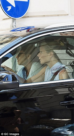 Co-pilot: According to a report from People, Brad 'sweetly helped [Gwyneth] drive through town'