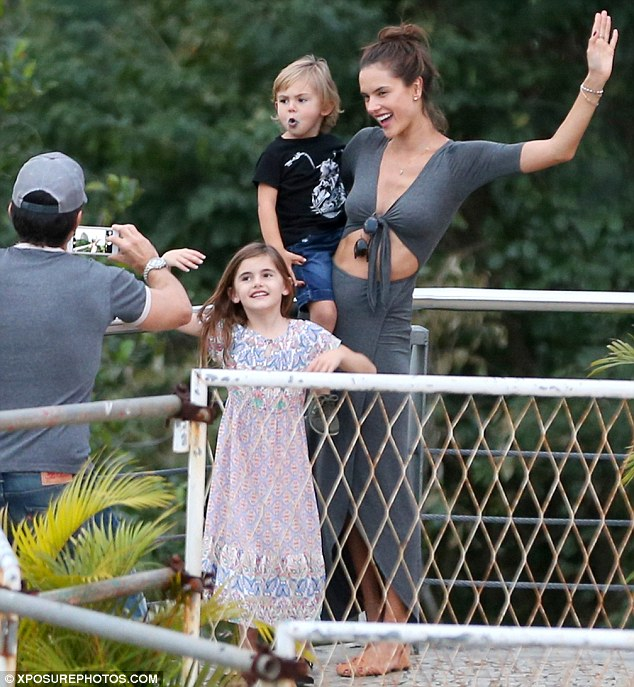 Family snaps: The 34-year-old supermodel made sure her two children, Anja, seven, and Noah, three, got to see the sights of Rio de Janeiro during some time out from her busy schedule
