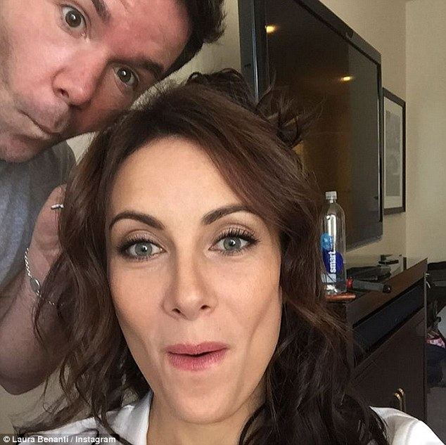 The big day: The brunette couldn't hide her excitement for the big day, as she posted a lighthearted selfie on her Instagram with her hair stylist, Charles Baker Strahan
