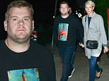 Please contact X17 before any use of these exclusive photos - x17@x17agency.com   'The Late Late Show' host James Corden and wife Julia Carey hold hands following their romantic date night dinner at Giorgio Baldi. November 15, 2015 X17online.com EXCLUSIVE
