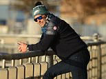 November 17, 2015: Bradley Cooper is pictured walking and talking on his phone along the Hudson river in New York City today. Mandatory Credit: Elder Ordonez/Cepeda/NFphoto.com Ref: infusny-160