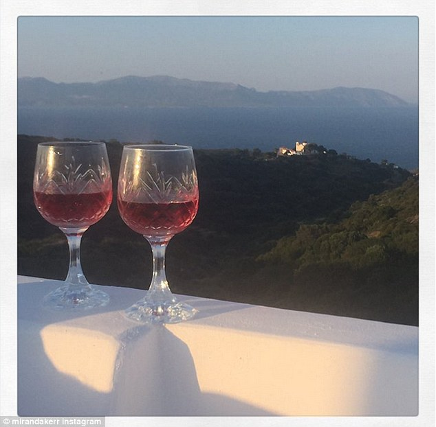 Wine o'clock: Miranda shared this shot of two wine glasses to her Instagram on Friday, with a sweet message for her beloved mother