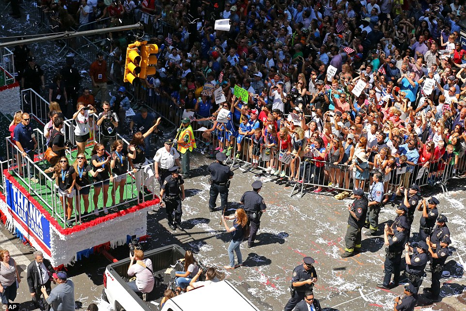 With stock information now computerized, ticker tape has been replaced with shredded office paper and confetti